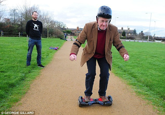 old man on hoverboard